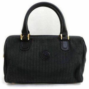 Fendi Black Pequin Stripe Boston Duffle 860603